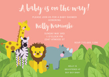 Jungle Friends Pink Birthday Invitations