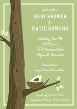 Bird Nest Green Invitation