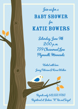 Bird Nest Blue Invitation