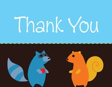 Woodland Friends Blue Thank You Cards