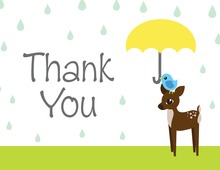 Rain Drops With Yellow Umbrella Thank You Cards
