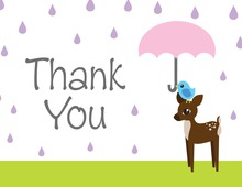 Rain Drops With Pink Umbrella Thank You Cards