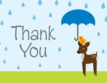 Rain Drops With Blue Umbrella Thank You Cards