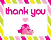 Pink Adorable Owl Thank You Cards