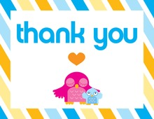 Blue Cute Owl Thank You Cards