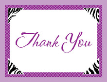 Purple Zebra Triangle Corner Purple Thank You Cards