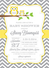 Deep Yellow Adorable Hoot Invitations