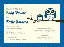 Blue Cute Hoot Baby Shower Invitations