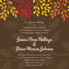 Colorful Fall Leaves Brown Wedding Shower Invitations