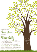 Rich Green Leaves Big Tree Wedding Shower Invitations