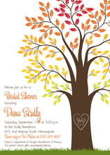 Beautiful Fall Leaves Big Tree Wedding Invitations