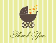Love Buggy Carriage Thank You Cards