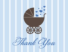 Love Carriage Blue Thank You Cards