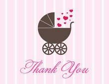 Love Carriage Pink Thank You Cards