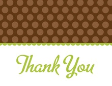 Brown Polka Dots Green Thank You Cards