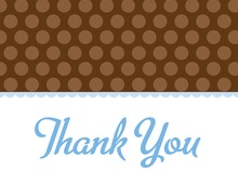 Brown Polka Dots Blue Thank You Cards