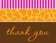 Wild Skin Animals Pink Thank You Cards