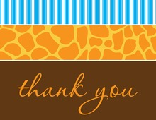 Wild Skin Animals Blue Thank You Cards
