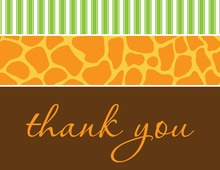Wild Skin Animals Green Thank You Cards