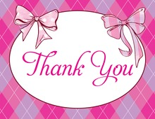 Two Pink Bows Thank You Cards
