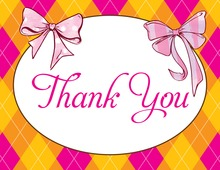 Two Bows Pink-Orange Thank You Cards
