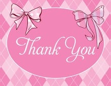 Girly Pink Bows Thank You Cards