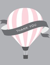 Pink Hot Air Balloon Thank You Cards