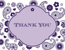 Purple Paisley Thank You Cards