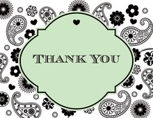 Green Paisley Thank You Cards
