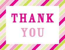 Multicolor Pink Stripes Thank You Cards