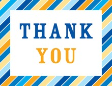 Multicolor Blue Stripes Thank You Cards