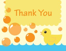 Duck Yellow Bubbles Thank You Cards