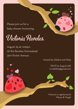 Modern Ladybugs Pink Invitation