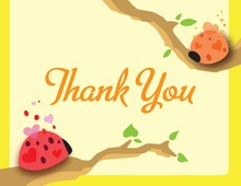 Cute Ladybugs Yellow Thank You Cards