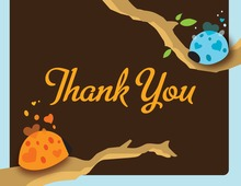 Cute Ladybugs Blue Thank You Cards