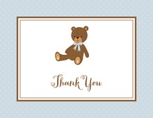 Lovely Teddy Bear Blue Thank You Cards