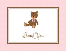 Lovely Teddy Bear Pink Thank You Cards
