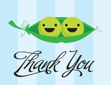 Peas in Pod Blue Thank You Cards
