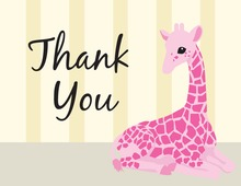 Pink Baby Girrafe Thank You Cards