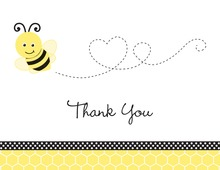 Adorable Bee Flying Heart Shape Thank You Cards