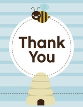 Mom-to-bee Blue Thank You Cards