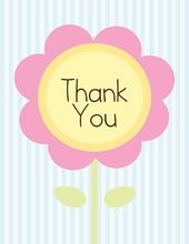 Pink Flower Blue Stripes Thank You Cards