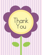 Lavender Flower Stripes Thank You Cards