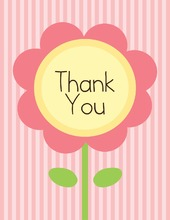 Pink Flower Pink Stripes Thank You Cards