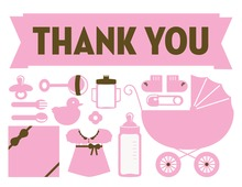 Pink Baby Elements Thank You Cards