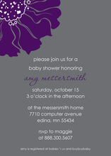 Delightful Purple Blossom In Grey Wedding Invitations