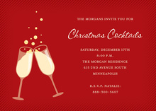 Bubbly Toast Red Invitations