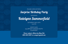 Simply Formal Flourish Medium Blue Modern Invitations