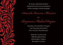 Holiday Victorian Style Red Black Party Invitations