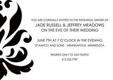 Modern Large Black Damask Formal Wedding Invitations
